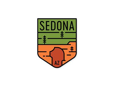 Devil's Bridge az minimal badge monoline southwest desert trees red rock arizona sedona devils bridge