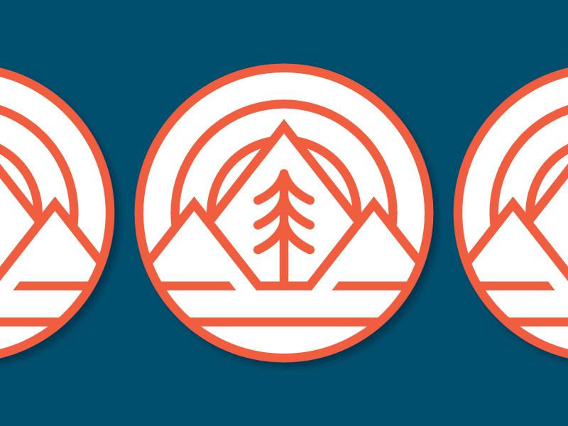 Fell Coasters logo badge monoline sun mountains tree pine stickermule coasters fell