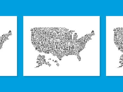 United States Icon Map madebyfell line art line icon illustration states 50 fell monoline map united states usa