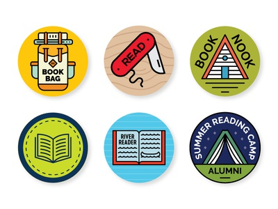 Gibbs Smith Buttons 1 merit badge summer nook bag reading camping tent canoe backpack pack cabin pocket knife book buttons