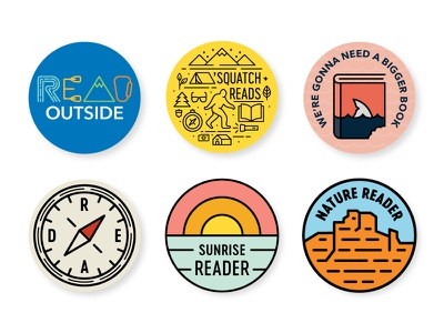 Gibbs Smith Buttons 2 read outside red rock sunrise sun shark sasquatch compass nature camping summer read book publisher buttons