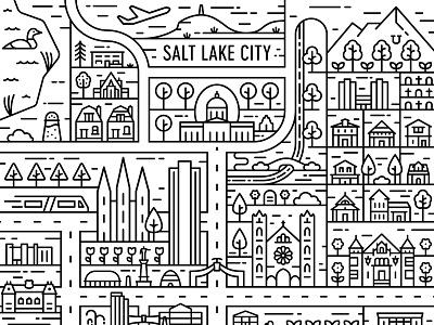 Salt Lake City Map beehive city monoline downtown temple illustration illustrated map map utah salt lake salt lake city