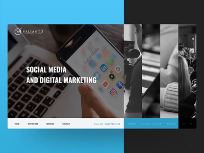 valiant3communications.com | Website Redesign, version 1 website design web  design animation graphic  design design