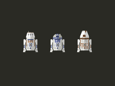 Astromech Droid Icons star wars a new hope r2-d2 r5-d4 r4-e1 astromech droid droids icons flat pixel