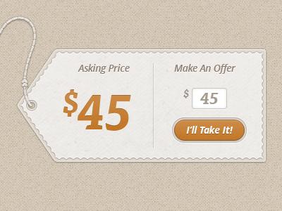 Make An Offer price tag tisa open sans