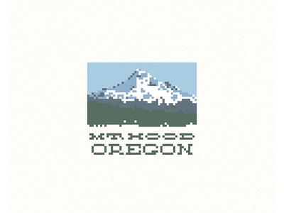 Mt. Hood Oregon pixel art pixel vector design illustration
