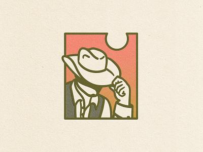 Sunset Cowboy vector digital illustration illustration