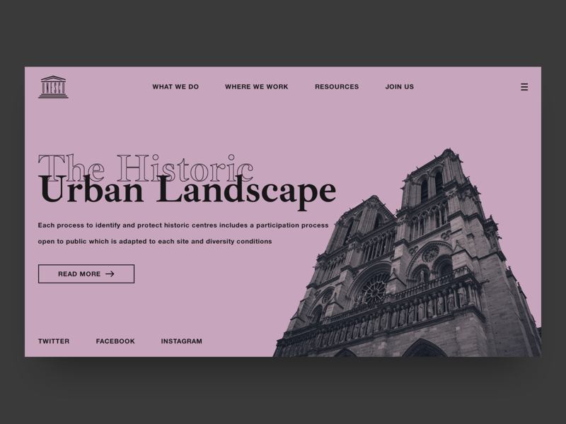 Unesco Dribbble Shot Represent grid ui minimal clean typography desktop header design concept design