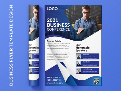 Business conference flyer template design presentation conference businesscard logo page flat design identity simple stationery company information template cover brochure colorful professional creative corporate branding flyer design