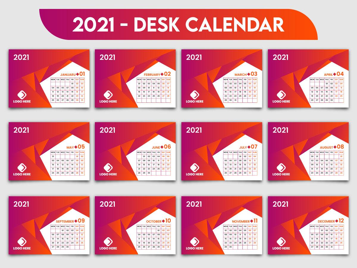 2021 Creative Desk Calendar Template Design by Rubel Ahmad ...