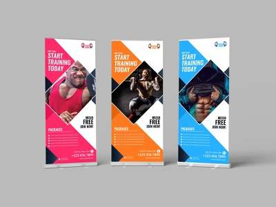 Fitness Rollup Template health gymnasium gym flyer fitness center fitness fit energy corporate colorful clean bodybuilding body building body banners banner advertising advertisement aam360