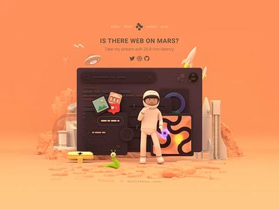 Personal Page landing 3d animation cinema4d spaceman space mars hero image branding logo illustration react reactjs c4d 3d character hero motion code web animation