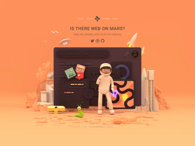 Personal Page landing 3d animation cinema4d spaceman space mars hero image branding logo illustration react reactjs c4d 3d character hero motion code web animation