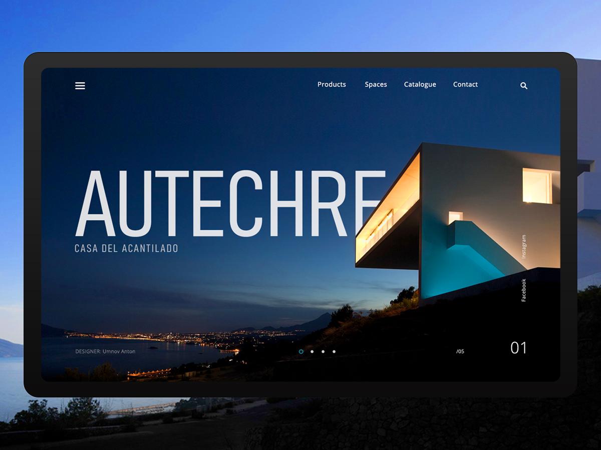 Autechre (main page design concept) photoshop authentic typography concept ux site grid layout ui website design web web design