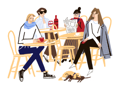 French stare illustration digitalillustration crowd weekendmood lifestyle wine coffeetime paristerrace dog girl french character people parisstyle