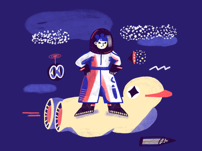 Space girl future traveling digitalillustration web color characterdesign girl illustration duck spaceship fantastic space