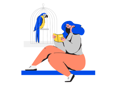 Booklover reading parrot bodypositive girl vector graphics flat