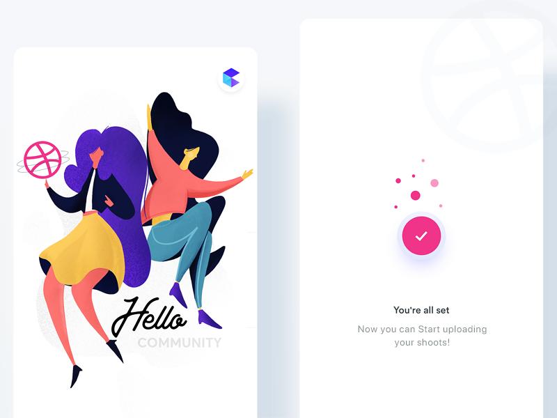 Hello Dribbble! 🏀 illustrator clean mobile ux ios minimal app vector design flat web ui logo illustration