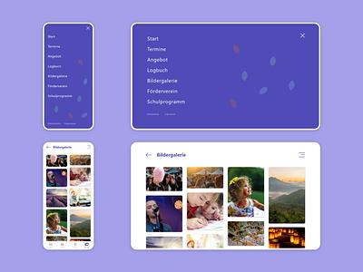 Elementary School Webapp / Menu & Gallery kids gallery menu responsive app elementary school learning school purple minimal ux webapp design bitbithooray mobile mobile first