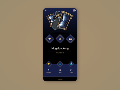 Player Profile of Serious Game App fantasy pwa ux dark mobile bitbithooray personalized colors ui serious game gaming game profile app monster avatar