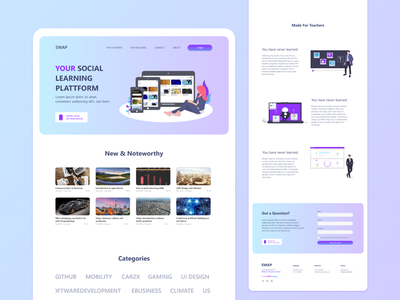 Landing Page for the Social Learning Network SWAP minimal social network social media courses elearning landing page website vector illustration branding ux ui bitbithooray