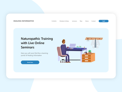 Naturopath Online Training - Landing Page flat uiux medical naturopath website landing page blue light minimal vector elearning course online training illustration vector art ui bitbithooray ux