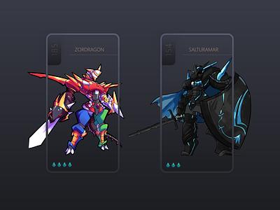 Avatar Shopping Card Dialogs - Redesign webdesign mobile app card bitbithooray game app uxui ux dark game gamification mobile shopping dialog monster game design fantasy