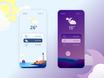Weather App - Weather Forecast Interface day sun moon night flat illustration temperature vector ux ui weather weather app dark light forecast cloud landscape lighthouse bitbithooray mobile