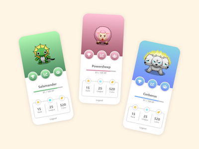 Player Profile Page with Avatar Stats pokemon gaming gamer player play monster avatars illustration design mobile app bitbithooray ui ux pastel colors stats avatar profile game