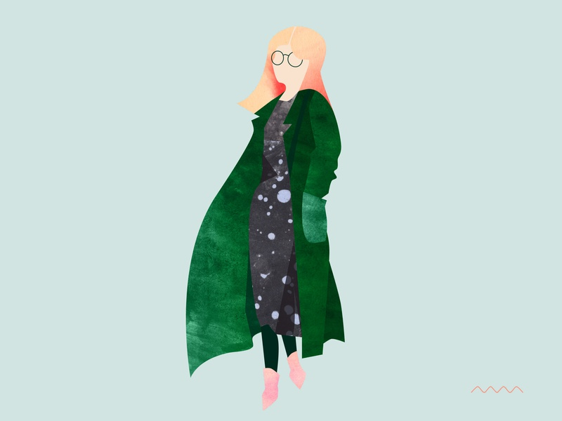 Dress & green coat look illo mint simple design look fashion illustration green character design editorial vector glasses clothes woman character fashion textures graphic pattern illustration marmarka