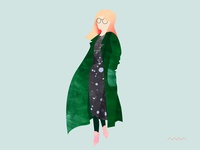 Dress & green coat look
