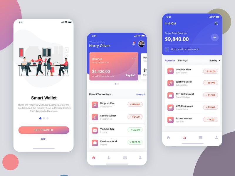 Freelance wallet App Ui Kit Design user profile ui design app apps application psd ios app android free psd