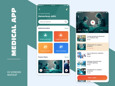 Medical Learning App Ui Design mobile app login profile design user profile psd ios app android free psd