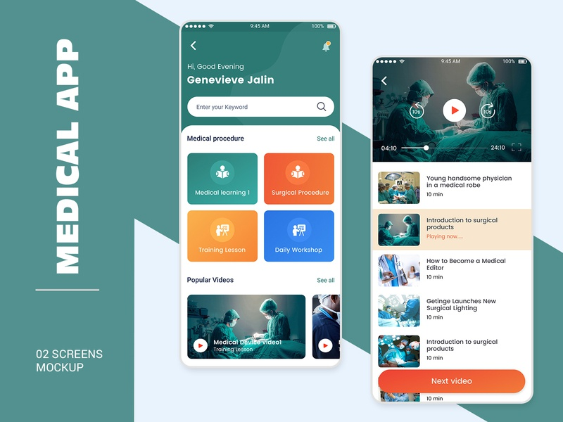 Medical Learning App Ui Design mobile app login profile design user profile psd ios app android free psd