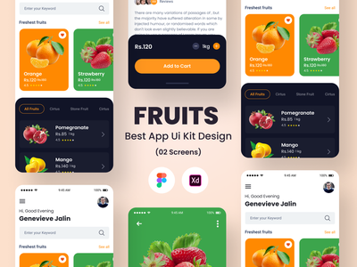 Fruits  Best App Ui Kit Design illustration design ui design uiux app