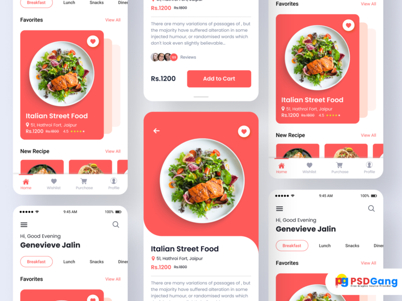 New Foody App Ui Kit Design design illustration app android