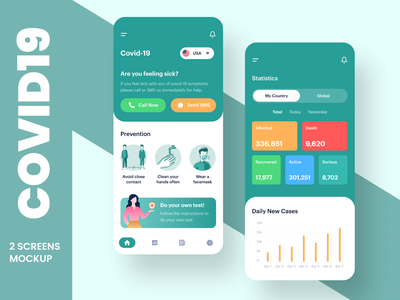 Covid 19 App UI Design Concept user profile illustration design profile app apps application app android