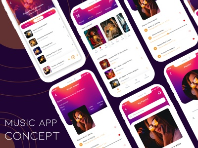 Music app design concept user profile profile music app music illustration design booking app app apps application ios free psd android