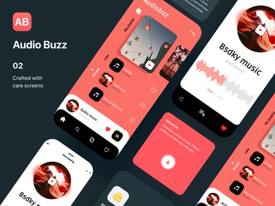 Audio Buzz App Concept UI Kit ui user profile register profile booking app app apps application ios app free psd android