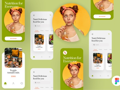 Nutrition App Concept UI Screens register design flight booking app ui user profile app apps application psd ios free psd android