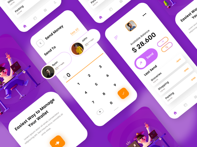 Free E-Wallet Concept UI Kit user interfaces layout design app development company web development company website developer app development website design