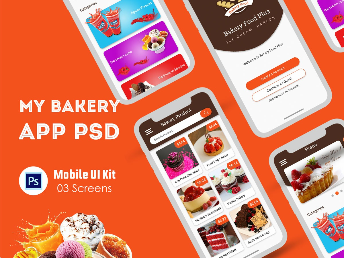 Bakery food delivery app UI template website ui register profile user profile login free psd psd ios android flight booking app booking app app