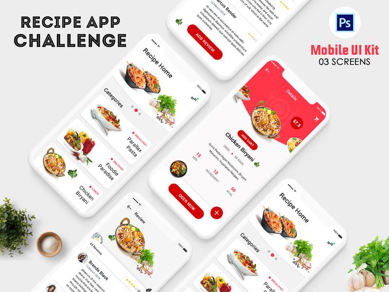 Recipe App Challenge [Please VOTE me] mobile psd mobile ui psd mobile app food delivery app food app template website ui register profile user profile login free psd psd ios android flight booking app booking app app