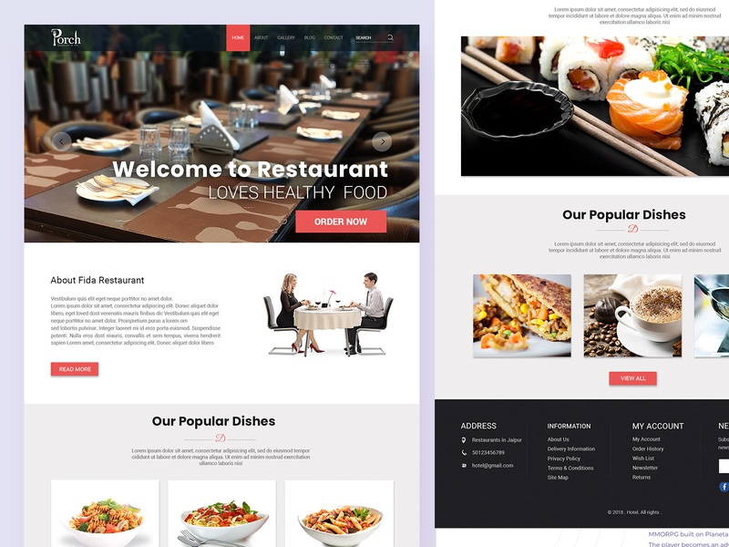 Restaurant Website Template Ui Psd By Psd Gang Creatives Dribbble