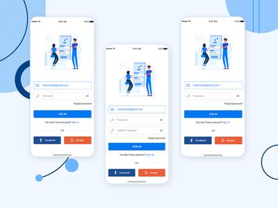 New Modern Login Screen Design PSD design profile ui user profile app apps application psd ios app free psd android