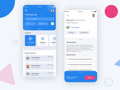 Find a Job App UI Design Concept PSD profile flight booking app user profile app apps application booking app psd ios app free psd android