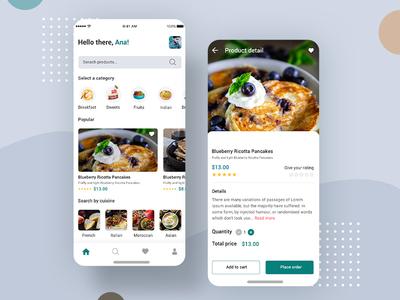 Fresh Food Mobile App Ui Designs PSD profile ui flight booking app user profile app apps application booking app psd ios app free psd android