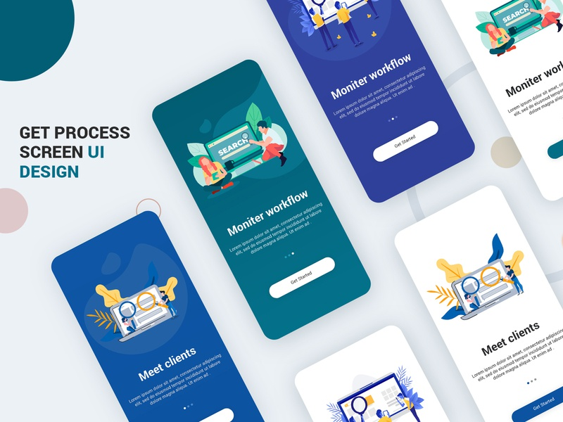 Get Started Screen Design UI Kit PSD login template design profile app apps application psd ios app android free psd