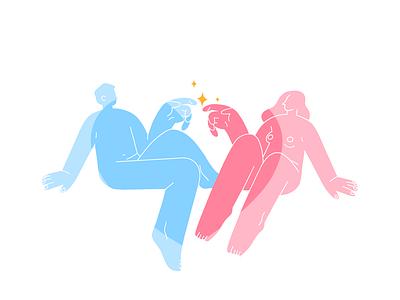 Celebrating Love boy girl valentine day relationships logo sketch flat design art vector illustration icon