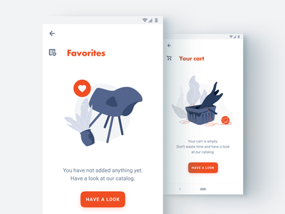 Faves and empty cart app logo ux ui furniture augmented reality web flat design art sketch vector illustration icon